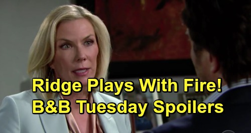 The Bold and the Beautiful Spoilers: Tuesday, April 2 - Ridge Gives Taylor A Pass, Brooke Furious - Bill & Katie Delighted