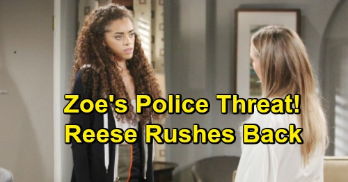 The Bold and the Beautiful Spoilers: Reese Returns In A Panic After Zoe's Illegal Adoption Discovery, Police Threat