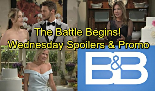 The Bold and the Beautiful Spoilers: Wednesday, August 22 - Brooke and Taylor's Cake Fight - Liam's Surprise Staycation Honeymoon
