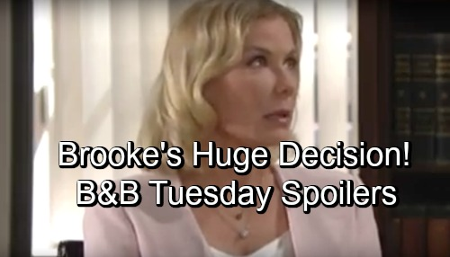 The Bold and the Beautiful Spoilers: Tuesday, October 9 – Guilty Brooke Wrestles with Ridge's Secret – Bill's Gesture Moves Katie