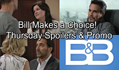 The Bold and the Beautiful Spoilers: Thursday, August 23 - Bill Must Choose Between Work and Will - Ridge and Brooke Disagree