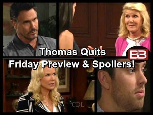 The Bold and the Beautiful Spoilers: Thomas Leaving Forrester Creations – Bill Ready for Ridge to Crash and Burn