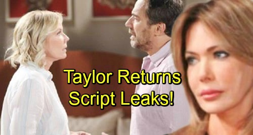 The Bold and the Beautiful Spoilers: Leaked Script Shows Taylor Back In Action - Hunter Tylo Back On Set Filming?
