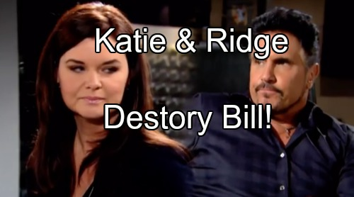 'The Bold and the Beautiful' Spoilers: Katie and Ridge Conspire To Steal Bill's Forrester Shares in Divorce Takedown
