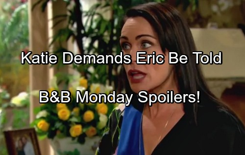 The Bold and the Beautiful Spoilers: Monday April 3 - Katie Demands Brooke Come Clean With Eric – Wedding Confusion Chaos