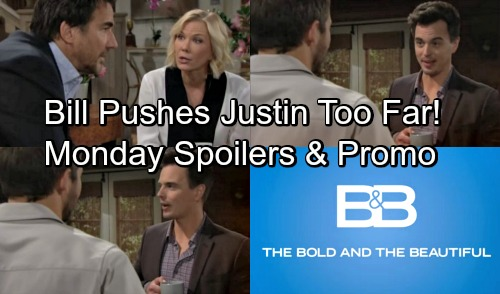 The Bold and the Beautiful Spoilers: Monday, May 14 – Bill Pushes Justin Too Far – Ridge and Brooke Clash Over Hope and Liam