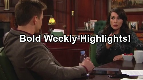 The Bold and the Beautiful Spoilers: Weekly Highlights – Fierce Faceoffs, Strong Alliances and Guilty Pleasures