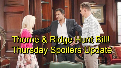 The Bold and the Beautiful Spoilers: Thursday, October 18 Update – Brooke's Stern Warning – Ridge and Thorne Hunt Bill