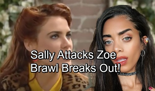 The Bold and the Beautiful Spoilers: Sally Physically Attacks Zoe, Rages at True Threat Poster – Wyatt Struggles to Prevent Brawl