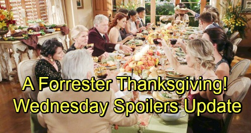 The Bold and the Beautiful Spoilers: Wednesday, November 21 Update – Quinn's Jealousy Brings Thanksgiving Conflict