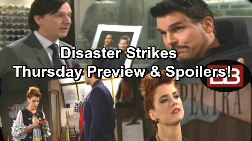 The Bold and the Beautiful Spoilers: Thomas Allays Sally's Fear and Doubt – Bill Insists Spectra Takedown Necessary