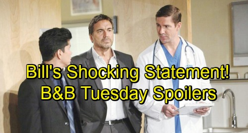 The Bold and the Beautiful Spoilers: Tuesday, October 30 – Ridge Shocked by Bill's Move – Eric Confides in Sympathetic Donna