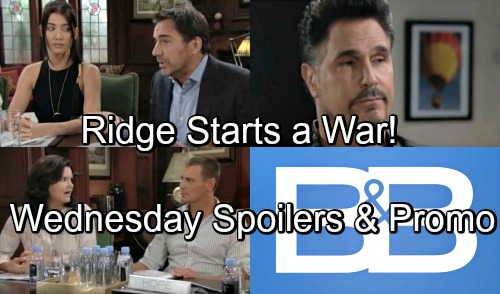 The Bold and the Beautiful Spoilers: Wednesday, September 5 - Ridge Opens Up A New Battle Between Steffy and Hope - The War is On