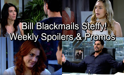 The Bold and the Beautiful Spoilers: Week of June 18 – Bill Blackmails Steffy – Sally and Wyatt Get Steamy – Maya Suspects a Spy