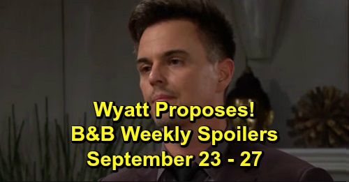 The Bold and the Beautiful Spoilers: Week of September 23-27 – Wyatt Proposes – Unconscious Katie Struggle to Survive – Thomas Busted