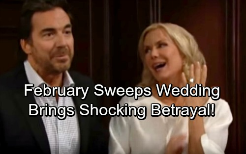 The Bold and the Beautiful Spoilers: Ridge and Brooke's February Sweeps Wedding Brings Shocking Betrayal By Rick and Thorne