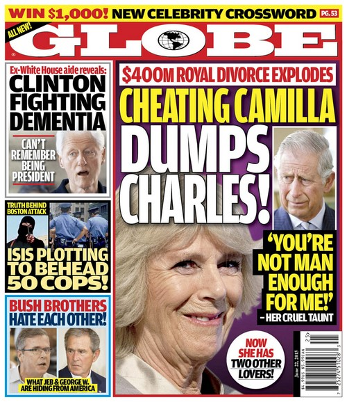 GLOBE: Camilla Parker-Bowles $400 Million Divorce - Alleged Cheating on Prince Charles With Two Lovers (PHOTO)