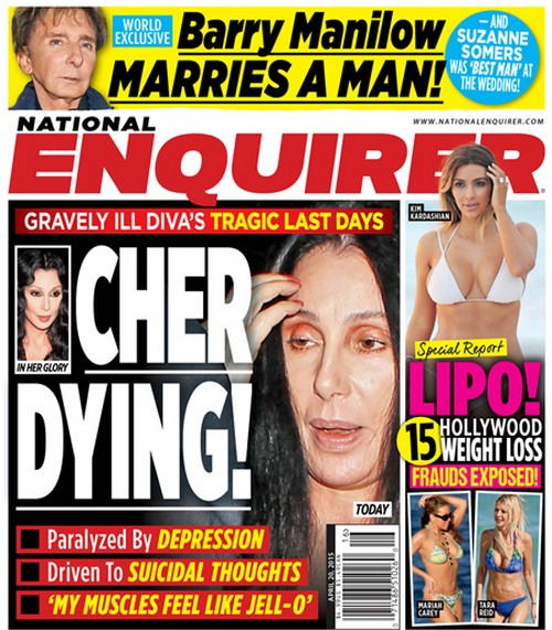 Cher Dying: Depression and Suicidal Thoughts - National Enquirer (PHOTO)