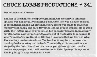 Chuck Lorre's Big Bang Theory Drunken Monkey