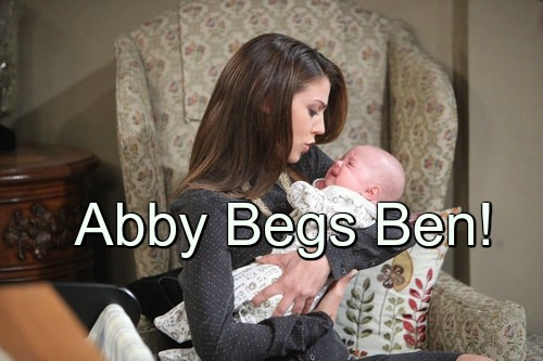 Days of Our Lives (DOOL) Spoilers: Abigail's Terrifying Encounter - Begs Ben to Stay Away, Spare Baby