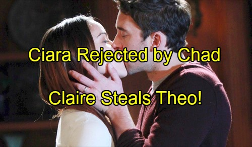 'Days of Our Lives' Spoilers: Ciara Rejected by Chad, Seeks Theo's Love - Stunned to Find Backup Beau Kissing Claire