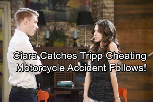 Days Of Our Lives Spoilers: Ciara Catches Tripp Cheating, Takes Off In A Rage On Motorbike - Tragic Accident Follows