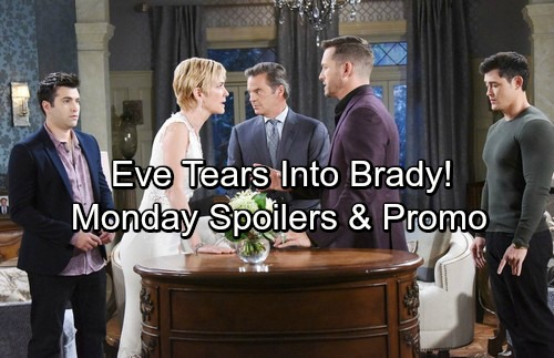 Days of Our Lives Spoilers: Monday, March 12 – Sonny Spots Will and Paul's Kiss – Brady Faces Eve's Wrath – Steve Struggles