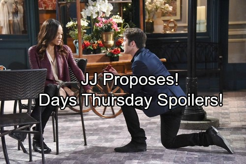Days of Our Lives Spoilers: Thursday, February 15 – JJ Pops the Question – Jennifer Hears Eric's Plea – Eli Consoles Gabi