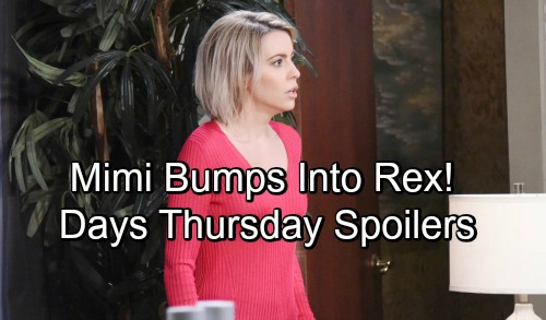 Days of Our Lives Spoilers: Thursday, October 25 – Nervous Mimi Runs Into Rex – John's Sneaky Plan Takes Shape – Hattie's Surprise
