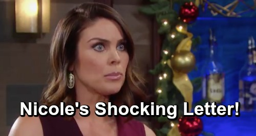 Days of Our Lives Spoilers: Nicole's Letter Shocks Salem - Wants Chloe To Raise Holly, Eric Outraged