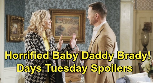 Days of Our Lives Spoilers: Tuesday, October 1 - Kristen Shares Baby News With Horrified Brady - Rolf Checks In On Kate