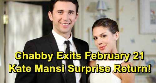 Days of Our Lives Spoilers: Billy Flynn and Kate Mansi Tease Chabby Sendoff, Big Shockers - Abigail's Surprise Solo Return