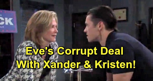 Days of Our Lives Spoilers: Eve's Past With Xander Comes Back To Bite - Kristen DiMera Forces Corruption In Salem PD & Mayor's Office