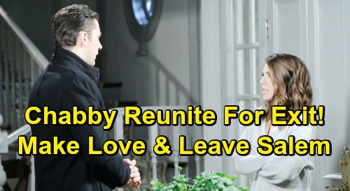 Days of Our Lives Spoilers: Chabby Reunion Brings Joint DOOL Exit - Abigail Forgives Chad, Couple Makes Love and Leaves Salem
