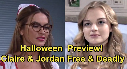 Days of Our Lives Spoilers: DOOL Halloween Preview – Claire Escapes Bayview, Rages Wild with Jordan – Ben Surrenders to Dark Side