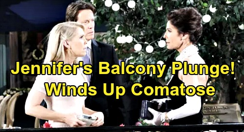 Days of Our Lives Spoilers: Jennifer Coma Tragedy - Plunges Off Balcony, Smacks Down in Town Square – Jack & JJ Watch in Horror