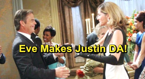Days of Our Lives Spoilers: Eve Offers Justin A Job - Will A Kiriakis Be Salem's Next DA?