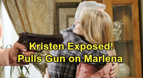 Days of Our Lives Spoilers: Kristen Exposed, Pulls Gun on Marlena - John & Marlena Anniversary Party Blowup
