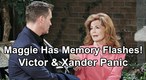 Days of Our Lives Spoilers: Maggie's Memory Flashes of Car Accident – Xander & Victor Panic Over Crumbling Baby Swap Cover-Up