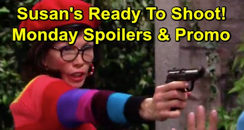 Days of Our Lives Spoilers: Monday, July 22 - Susan Threatens To Shoot Kristen - Kate Conks Sarah Over The Head
