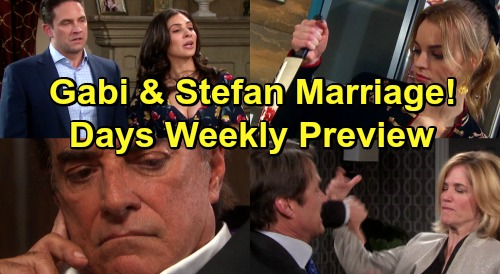 Days of Our Lives Spoilers: Week of July 22 Preview - Gabi and Stefan's Wedding - Tony Returns - Jack Dumps Eve, Couple Brawl