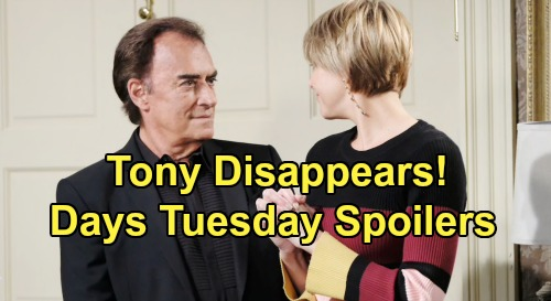 Days of Our Lives Spoilers: Tuesday, July 30 – Tony's Disappearance Gives 'Nicole' a Scare – Jack Names Eli New Police Commissioner