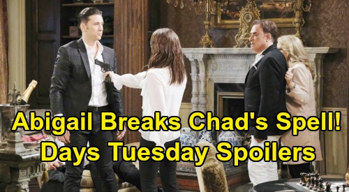 Days of Our Lives Spoilers: Tuesday, March 31 – One-Eyed Stefano Bloody Mess - Armed Abigail Fights for Chad - Ben & Ciara Marriage Talk