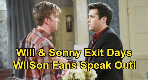 Days of Our Lives Spoilers: Will & Sonny Fans Speak Out on 'WilSon' Exit - Chandler Massey & Freddie Smith Out at DOOL