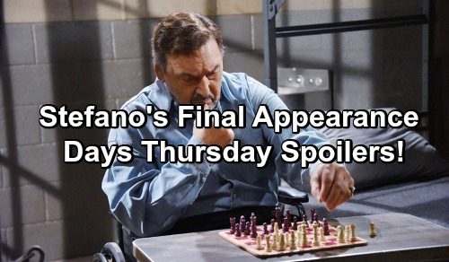 Days of Our Lives Spoilers: Joseph Mascolo's Last DOOL Appearance - Stefano in Jail