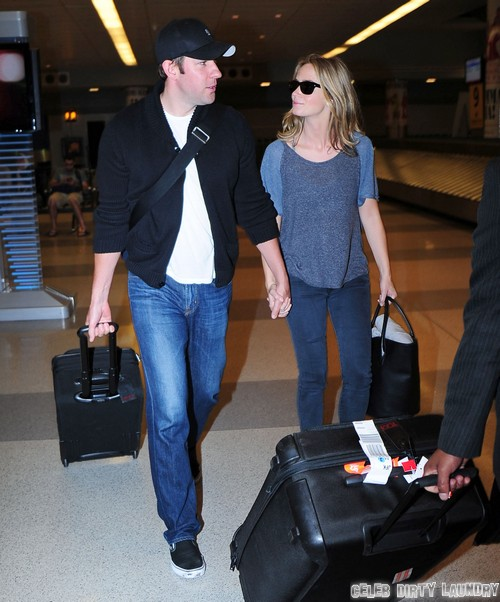 John Krasinski & Emily Blunt Arriving On A Flight In New York