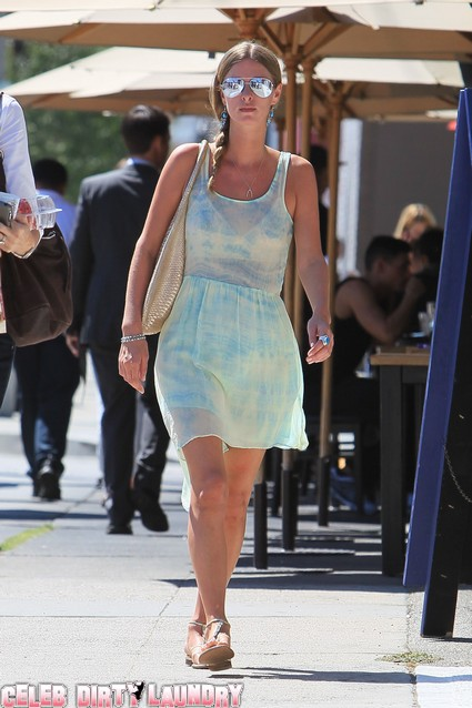 Nicky Hilton Hits The Town Today Wearing A Teal Tie Dye Dress - Photos