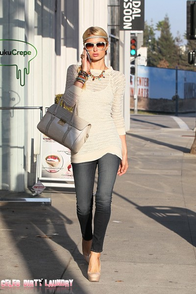 Paris Hilton Dazzles As She Visits Portofino Sun Center in Beverly Hills