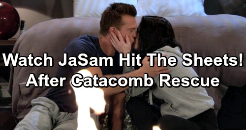 General Hospital Spoilers: JaSam Erupting Passion Preview Video - Jason and Sam Hit The Sheets After Catacombs Rescue