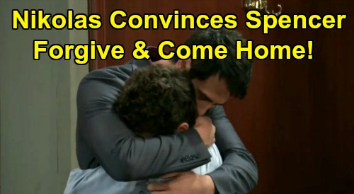 General Hospital Spoilers : Nikolas Convinces Spencer to Forgive and Come Home - Father and Son Reunion ?
